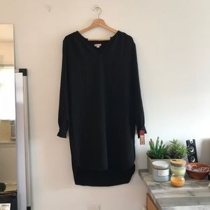 Long Sleeve Black Shift Dress